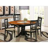 East West Furniture KENI5-BCH-C 5-Piece Dining Table Set - Round Top Dining Room Table - 4 Dining Chairs Slatted Back and Linen Fabric Seat (Black & Cherry Finish)