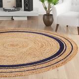 Birch Lane™ Mcandrews Hand-Braided Tan/Navy Blue Area Rug Jute & Sisal in Brown/White, Size 72.0 W x 0.2 D in | Wayfair LRFY4741 34396223