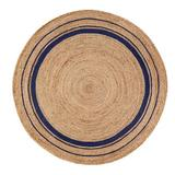 Birch Lane™ Mcandrews Hand-Braided Tan/Navy Blue Area Rug Jute & Sisal in Brown/White, Size 96.0 W x 0.2 D in | Wayfair LRFY4741 34396224