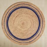 Birch Lane™ Mcandrews Hand-Braided Tan/Navy Blue Area Rug Jute & Sisal in Brown/White, Size 48.0 W x 0.2 D in | Wayfair LRFY4741 34396222
