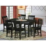 East West Furniture 7-Piece Kitchen Table Chairs Set Included a Rectangular Modern Kitchen Table and 6 Wood Dining Chairs - Solid Wood Modern Kitchen Chairs Seat & Slatted Back - Black Finish