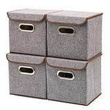 EZOWare 4pc Storage Basket Bins with Lid - Linen lidded Fabric Folding Boxes Cubes Containers - Gray