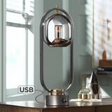 Arnette Gun Metal and Glass Table Lamp