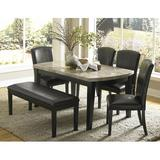 Latitude Run® Nuccio 6 Piece Dining Set Wood/Upholstered Chairs in Black/Brown, Size 30.0 H in | Wayfair 390D1E13A6084D8B9557C4AD56A7833B