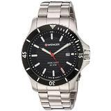 Wenger Men's 'Seaforce' Swiss Quartz Stainless Steel Casual Watch, Color:Black Dial, Stainless Bracelet (Model: 01.0641.118)
