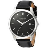 Wenger Men's City Classic Stainless Steel Swiss-Quartz Watch with Leather Calfskin Strap, Black, 20 (Model: 01.1441.101)
