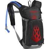 CamelBak Mini M.U.L.E. Kids Hydration Backpack for Hiking, 50 oz, Black/Flames