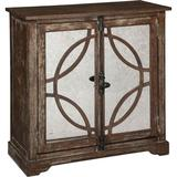 Fairfield Chair Rustique 2 Door Mirrored Accent Cabinet Wood in Blue/Brown/Gray, Size 35.0 H x 36.0 W x 16.0 D in | Wayfair 8113-CH
