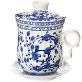 BandTie Convenient Travel Office Loose Leaf Tea Brewing System-Chinese Jingdezhen Blue and White Porcelain Tea Cup Infuser 4-Piece Set with Tea Cup Lid and Saucer,Blue Vine Flowers