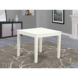 East West Furniture OXT-LWH-T Dining Room Table- Square Table Top and 4 Wooden Legs Kitchen Room Table Linen White Finish