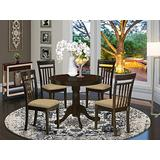 East West Furniture ANCA5-CAP-C Kitchen Table Set- 4 Amazing Kitchen Chairs - A Gorgeous Modern Dining Table- Linen Fabric Seat And Cappuccino Finish Wood Kitchen Table