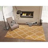 """Golden Yellow 5x8 (5'3"""" x 7'3"""") Area Rug Trellis Morrocan Modern Geometric Wavy Lines Living Dining Room Bedroom Kitchen Carpet Contemporary Soft Plush Quality Gold Area Rug"""