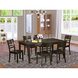 East West Furniture 7-Piece Dining Room Table Set Included a Self-Storing Butterfly Leaf Rectangular Dining Table and 6 Modern Dining Room Chairs - Solid Wood Kitchen Chair Seat & Ladder Back - Cappuccino Finish