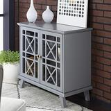 Walker Edison Wood Accent Buffet Sideboard Serving Storage Cabinet with Doors Entryway Kitchen Dining Console Living Room, 32 Inch, Grey