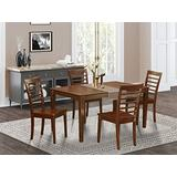 East West Furniture 4 Chairs Dining Table, Wood Seat, CAML5-MAH-W