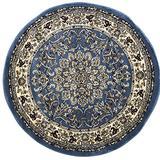 Traditional Round Area Rug Blue Persian 330,000 Point Deir Debwan Design 603 (5 Feet 3 Inch X5 Feet 3 Inch Round)