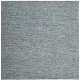 Highland Dunes Tulane Geometric Handmade Flatweave Wool Blue Area Rug Cotton/Wool in Blue/Brown, Size 72.0 H x 72.0 W x 0.31 D in | Wayfair