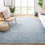 Highland Dunes Tulane Geometric Handmade Flatweave Wool Blue Area Rug Cotton/Wool in Blue/Brown, Size 120.0 H x 96.0 W x 0.31 D in | Wayfair