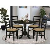 East West Furniture DLPF5-BLK-C 5-Pc dining room table set Black finish- Two 9-inch Drops Leave and Pedestal Legs breakfast table & 4 Ladder Back dining room chairs