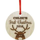 Koyal Wholesale Custom Baby's First Christmas Ornament Wood in Brown, Size 3.0 H x 3.0 W in   Wayfair APPE00129