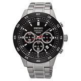 Seiko SKS527P1 Men's Neo Sport Chronograph Black Dial Stainless Steel Bracelet Watch