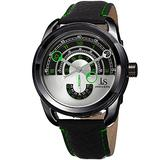 Joshua & Sons Men's Designer Watch – Unique Round Arc Themed Dial - Genuine Double Stitched Black Leather Strap with Green Accents – Round Stainless Steel Case – JX129GN