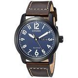 Citizen Men's Eco-Drive Stainless Steel Quartz Leather Calfskin Strap, Brown Casual Watch (Model: BM8478-01L)
