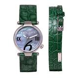 Mulco Mini Donna Swiss Quartz Analog Movement Women's Watch | Mother of Pearl Sundial with Swarovski Stainless Steel Accents | Leather Watch Band | Water Resistant Stainless Steel Watch (Green)