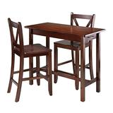 Winsome 3-Piece Kitchen Island Table with 2 V-Back Stool, Brown