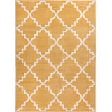 """Golden Yellow 8x11 (7'10'' x 10'6"""") Area Rug Trellis Morrocan Modern Geometric Wavy Lines Living Dining Room Bedroom Kitchen Carpet Contemporary Soft Plush Quality Gold Area Rug"""
