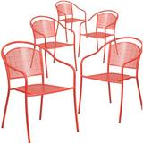 Flash Furniture Stackable Dining Chair Metal in Red, Size 32.25 H x 21.0 W x 21.0 D in | Wayfair 5-CO-3-RED-GG
