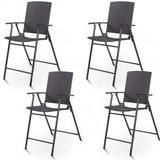 Costway Set of 4 Folding Rattan Bar Chairs with Footrests and Armrests for Outdoors and Indoors