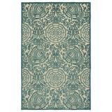 Charlton Home® Covedale Oriental Flatweave Teal Blue Indoor/Outdoor Area Rug Polypropylene in Gray, Size 46.0 W x 0.25 D in | Wayfair