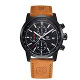 Conbays Men's Outdoor Sport Watch with Brown Leather Watchband Black Chronograph Waterproof Quartz Casual Wristwatch Date Display Stopwatch for Man