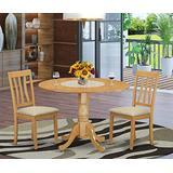 East West Furniture DLAN3-OAK-C Kitchen Dinette set, Linen Fabric Upholstered Seat, Oak Finish