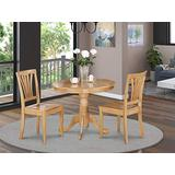 East-West Furniture Dining Room Table Set- 2 Wonderful Wood Chairs - A Beautiful Round Dining Table- Wooden Seat - and Oak Dining Table