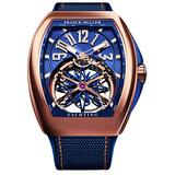Franck Muller Vanguard Mens Automatic 18K Rose Gold Skeleton Blue Face Blue Rubber Strap Watch V 45 T Gravity CS Yachting 5N.BL