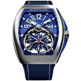 Franck Muller Vanguard Mens Automatic Skeleton Blue Face Blue Rubber Strap Watch V 45 T Gravity CS Yachting AC.BL