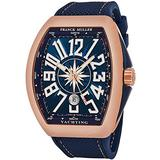 Franck Muller Vanguard Mens Automatic Date 18K Rose Gold Blue Face Blue Rubber Strap Watch V 45 SC DT Yachting 5N.BL