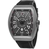Franck Muller Vanguard Mens Automatic Date Black Face Black Rubber/Leather Strap Watch V 45 SC DT TT BR.NR.NR