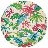 Bay Isle Home™ Wallingford Floral Hand Hooked Indoor/Outdoor Area Rug Polypropylene in Green/Red, Size 94.0 H x 94.0 W x 0.25 D in   Wayfair
