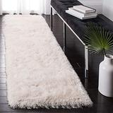 """Safavieh Venice Shag Collection SG256P Handmade Glam 3-inch Extra Thick Runner, 2'3"""" x 6' , Pearl"""