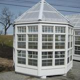 Little Cottage Company 8 Ft. W x 8 Ft. D Greenhouse Wood/Glass/Polycarbonate Panels in Brown, Size 132.0 H x 113.0 W in | Wayfair 8x8-LCOG-WPNK