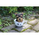 Hi-Line Gift Ltd. Teacup Yorkshire Terrier Puppy Statue Resin/Plastic in Black/Yellow, Size 5.5 H x 5.0 W x 5.25 D in | Wayfair 87706-D