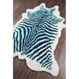 Novogratz Khalhari Animal Print Handmade Tufted Blue/White Area RugPolyester in Blue/Brown/White, Size 114.0 H x 90.0 W x 1.0 D in | Wayfair
