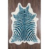 Novogratz Khalhari Animal Print Handmade Tufted Blue/White Area RugPolyester in Blue/Brown/White, Size 90.0 H x 60.0 W x 1.0 D in | Wayfair