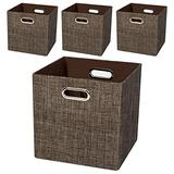 Storage Bins Cube Containers Boxes,Thick and Heavy Duty Fabric Drawers, 11×11 inch- Set of 4,Brown