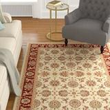 Charlton Home® Bellville Kashan Ivory/Red Rug in Brown/Red, Size 91.0 H x 91.0 W x 0.5 D in | Wayfair CHRL1375 34962445