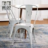Walker Edison Furniture Stackable Metal Cafe Bistro Chair, Antique White (AZH33MCWH)