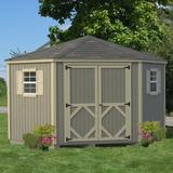 """Little Cottage Company 10 ft. W x 10 ft. D Solid Wood Shed Type, Wood/Solid Wood in Gray, Size 120"""" L x 120"""" W x 113"""" H 